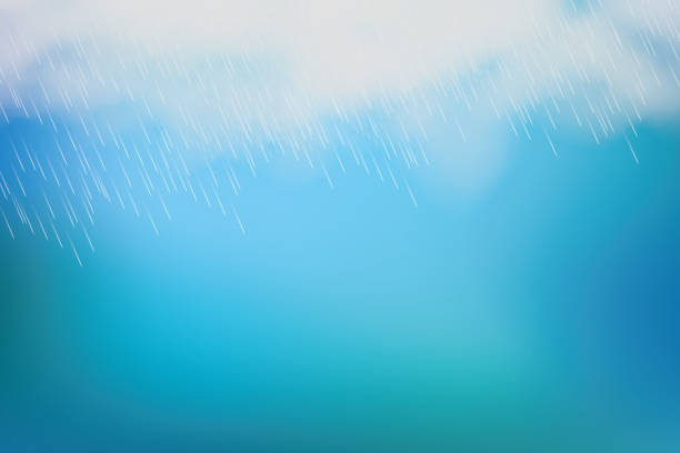rain and white cloud isolated on blue background. vector - rain stock illustrations, clip art, cartoons, & icons