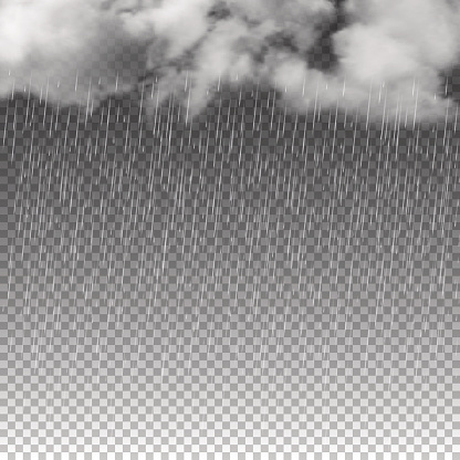 Rain and white clouds isolated on transparent background. Vector illustration.