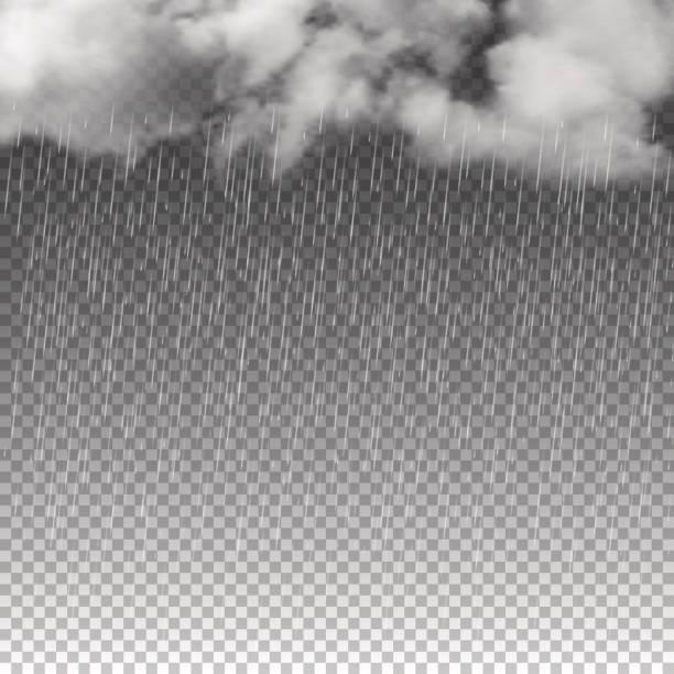 deszcz i białe chmury izolowane na przezroczystym tle. ilustracja wektorowa. - deszcz stock illustrations