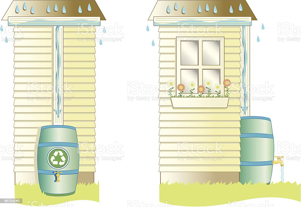 Rain Barrel vector art illustration