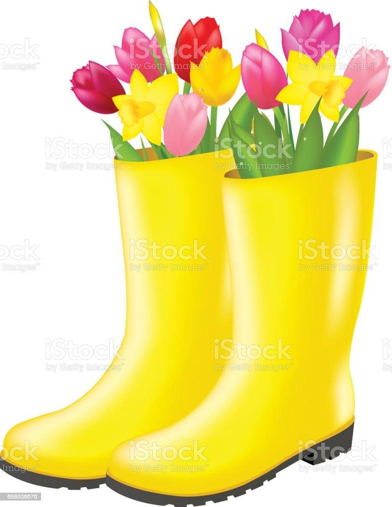 Rain boot With Tulip vector art illustration