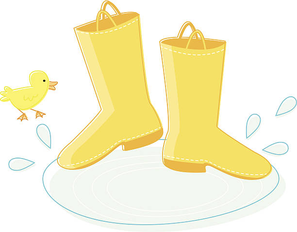 Rain Boots and Duckling vector art illustration