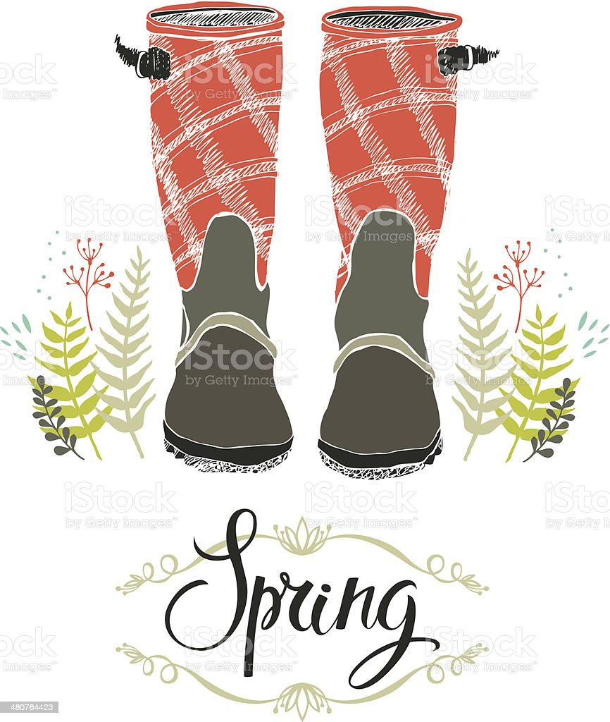 Rain boots and spring forest grass, design card vector art illustration