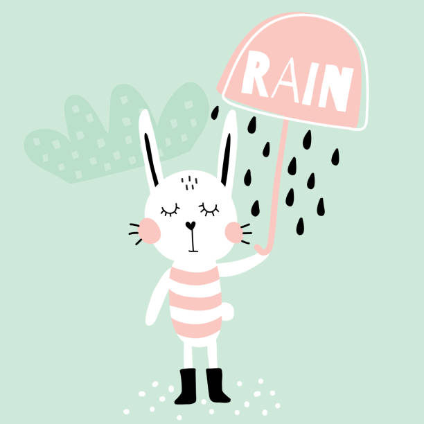 rain bunny - cartoon of a hazmat suit stock illustrations, clip art, cartoons, & icons