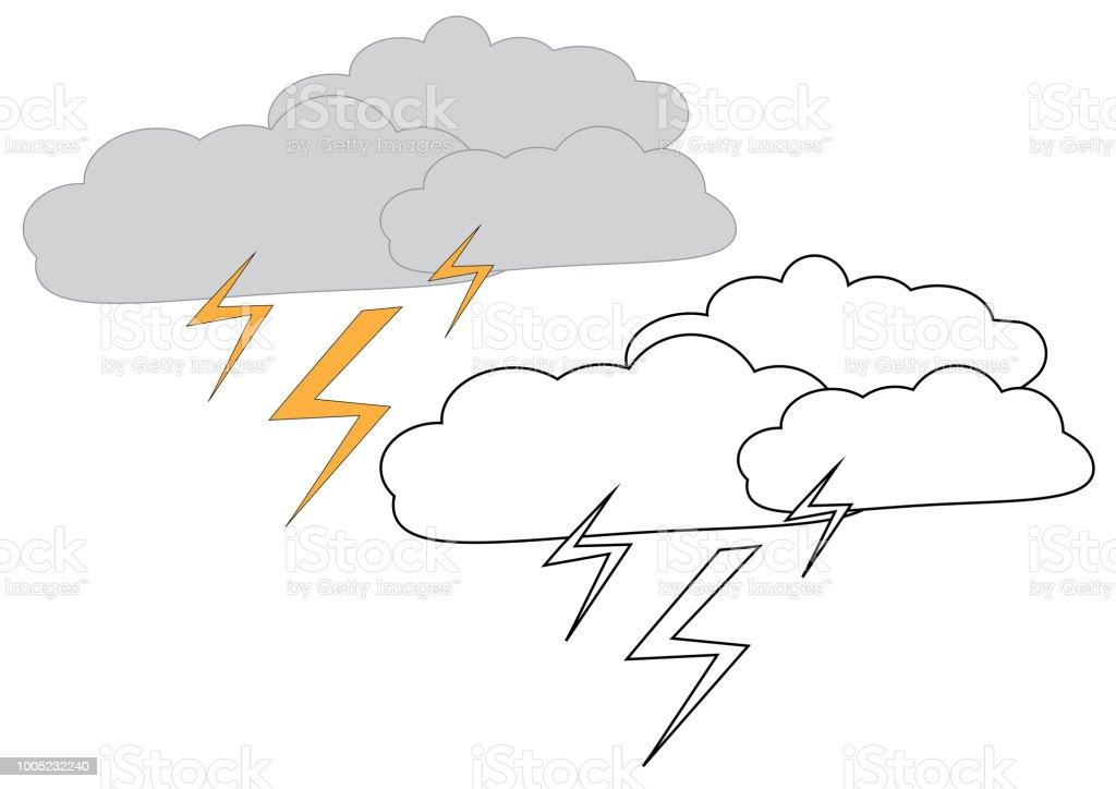 Yıldırım Ile Yağmur Bulutları Boyama Sayfası çocuklar Için