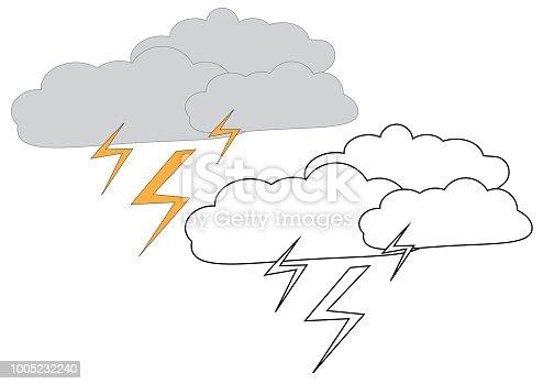 Yıldırım Ile Yağmur Bulutları Boyama Sayfası çocuklar Için Oyun