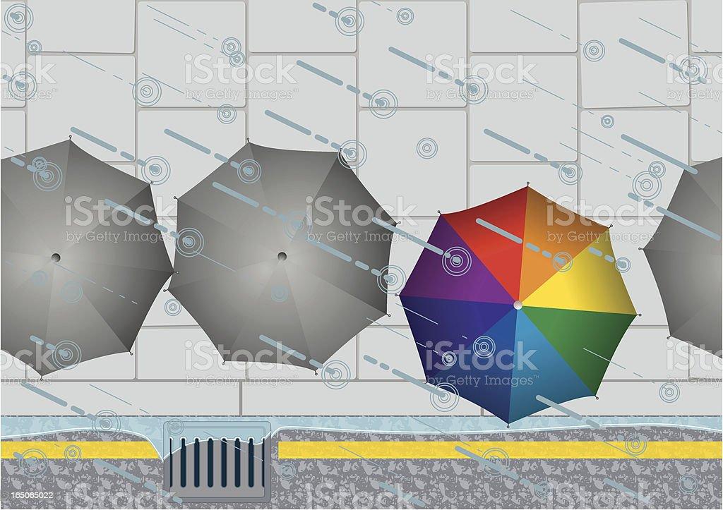 Rain Drain and Umbrellas! royalty-free stock vector art