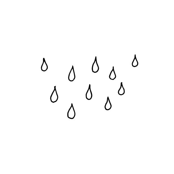Rain drops. Monochrome sketch, hand drawing. Black outline on white background. Vector illustration Drops of rain falling down from the sky. Sketch, hand drawing. Black outline on white background. Vector illustration teardrop stock illustrations