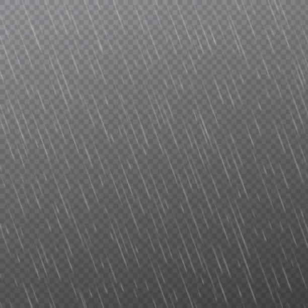 deszcz spada na przezroczystym tle. spadająca woda spada. naturalne opady deszczu. ilustracja wektorowa - deszcz stock illustrations
