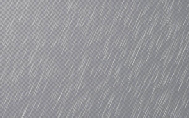 illustrations, cliparts, dessins animés et icônes de gouttes de pluie sur fond transparent. chute de gouttes d'eau. pluie sinisme. illustration de vecteur - pluie