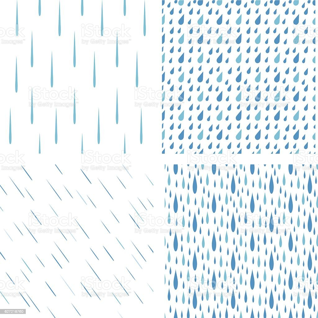 Rain drops pattern vector set - Illustration vectorielle