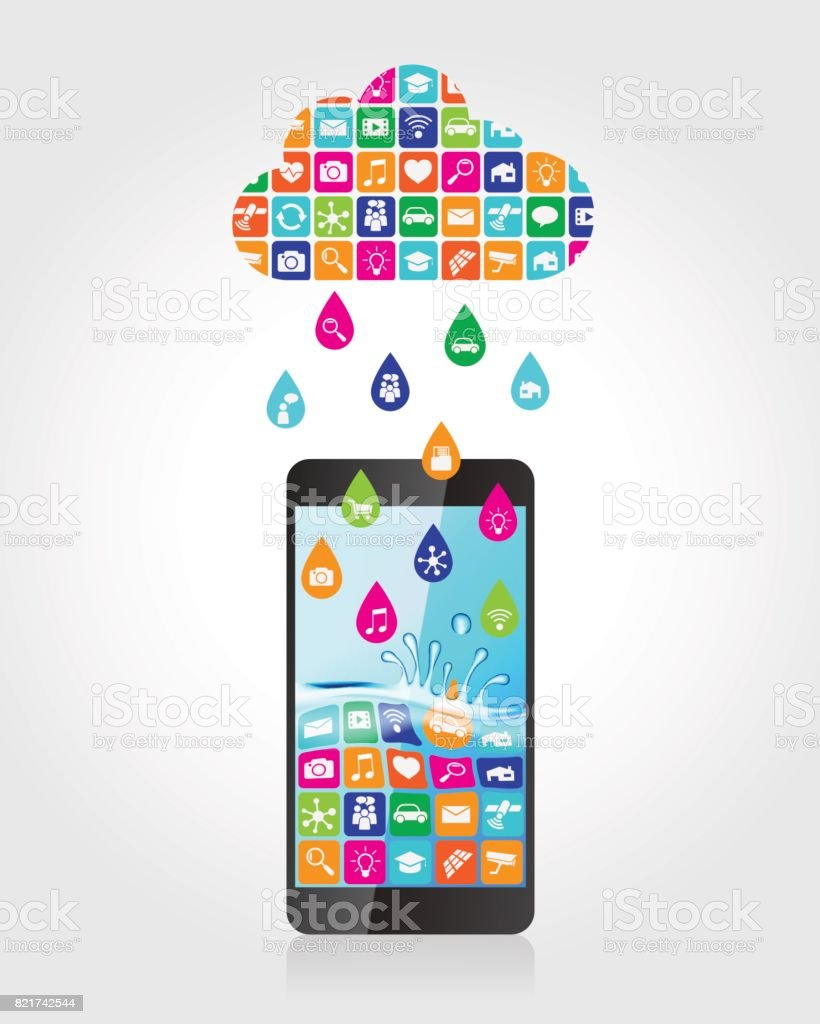 Rain from mobile apps: applications in the form of drops downloaded and installed to smartphone from the cloud vector art illustration