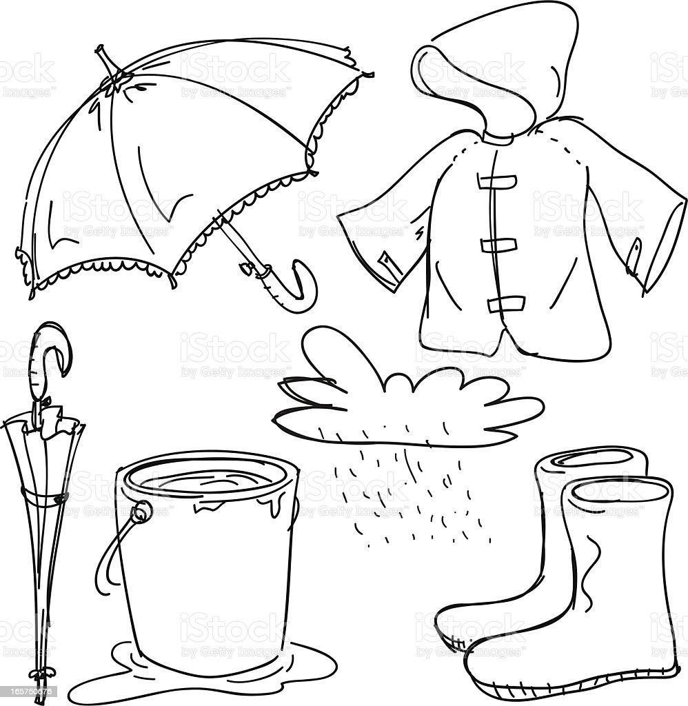Rain gear collection vector art illustration