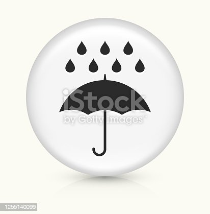 Rain Icon. This 100% royalty free vector illustration is featuring a round button with a drop shadow and the main icon is depicted in black. The button had a slight bevel 3D effect.