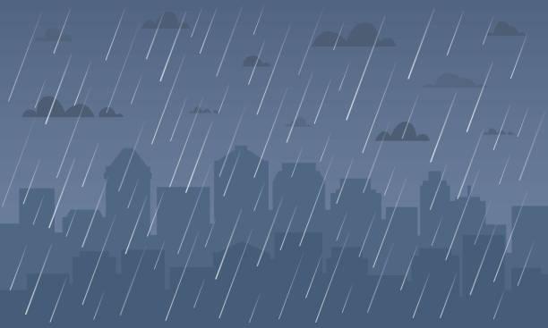illustrations, cliparts, dessins animés et icônes de pluie dans le paysage urbain. - pluie