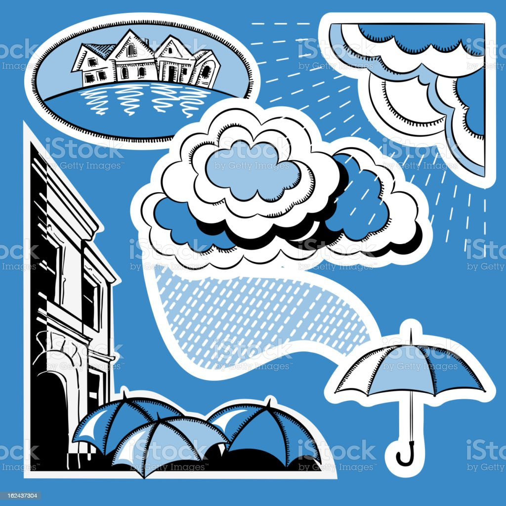Rain in the city royalty-free stock vector art