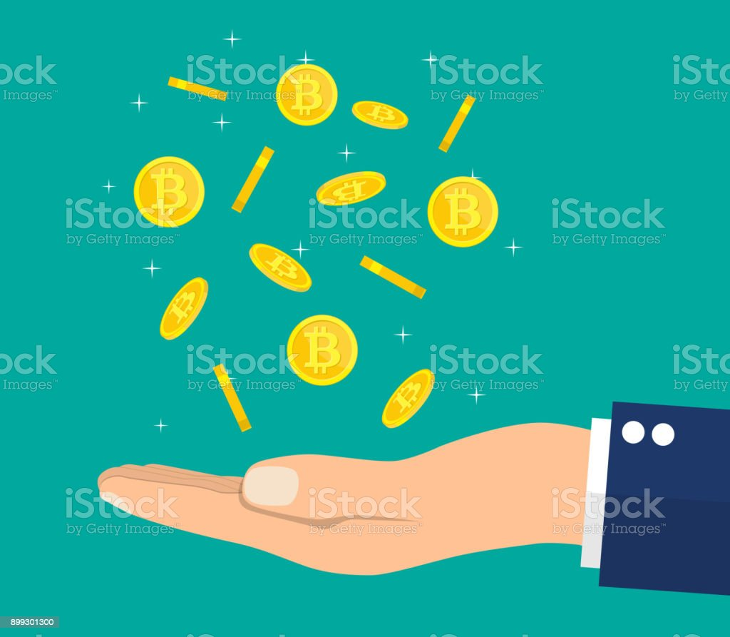 Rain of golden coin with bitcoin sign and hand. vector art illustration