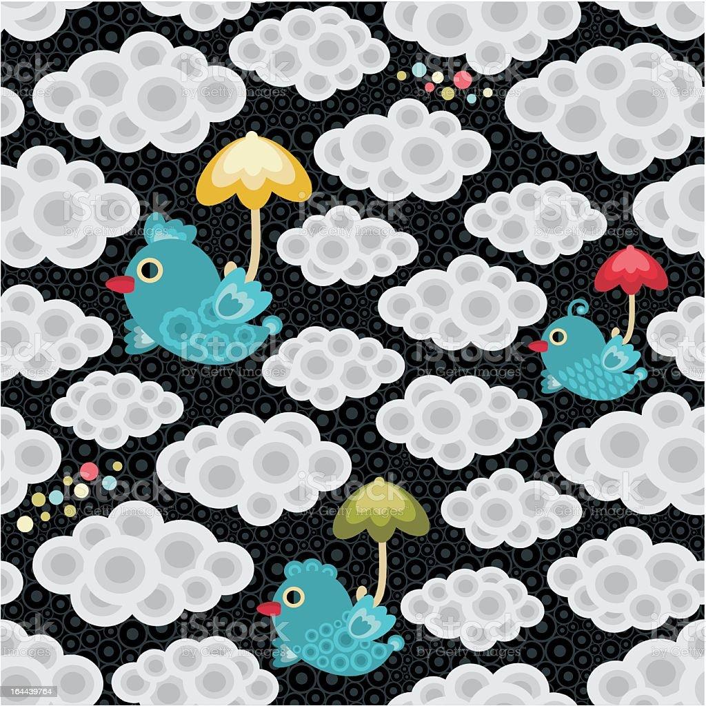 Rain seamless pattern with cartoon bird and cute umbrella. royalty-free stock vector art