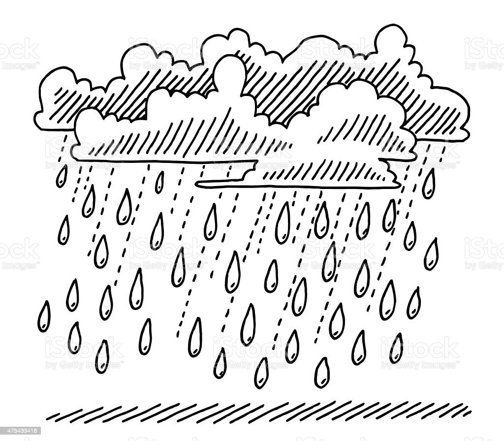 Rain shower clouds drawing stock illustration download