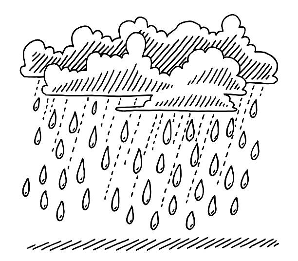 Rain Shower Clouds Drawing Hand-drawn vector drawing of a Rain Shower with Rain Drops and Clouds. Black-and-White sketch on a transparent background (.eps-file). Included files are EPS (v10) and Hi-Res JPG. environment stock illustrations