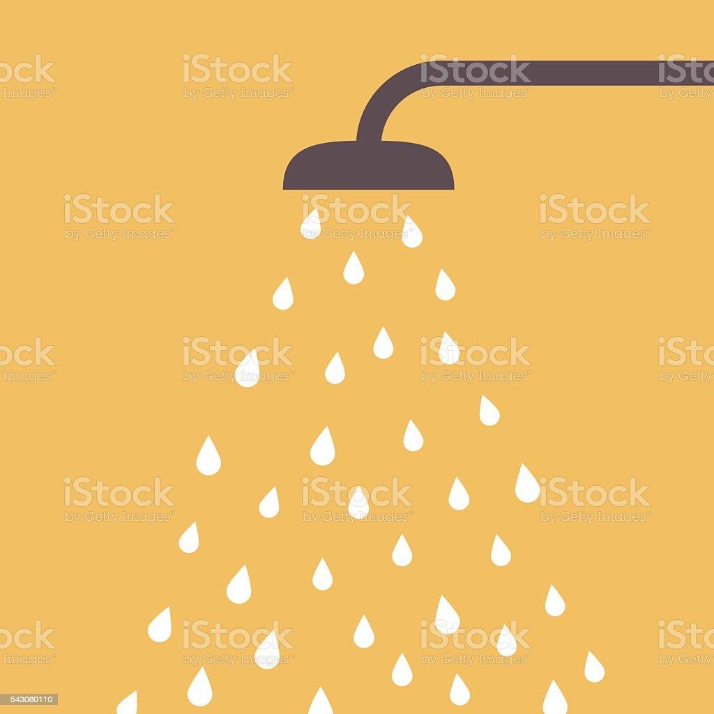 Chuveiro com queda d'água - ilustração de arte em vetor