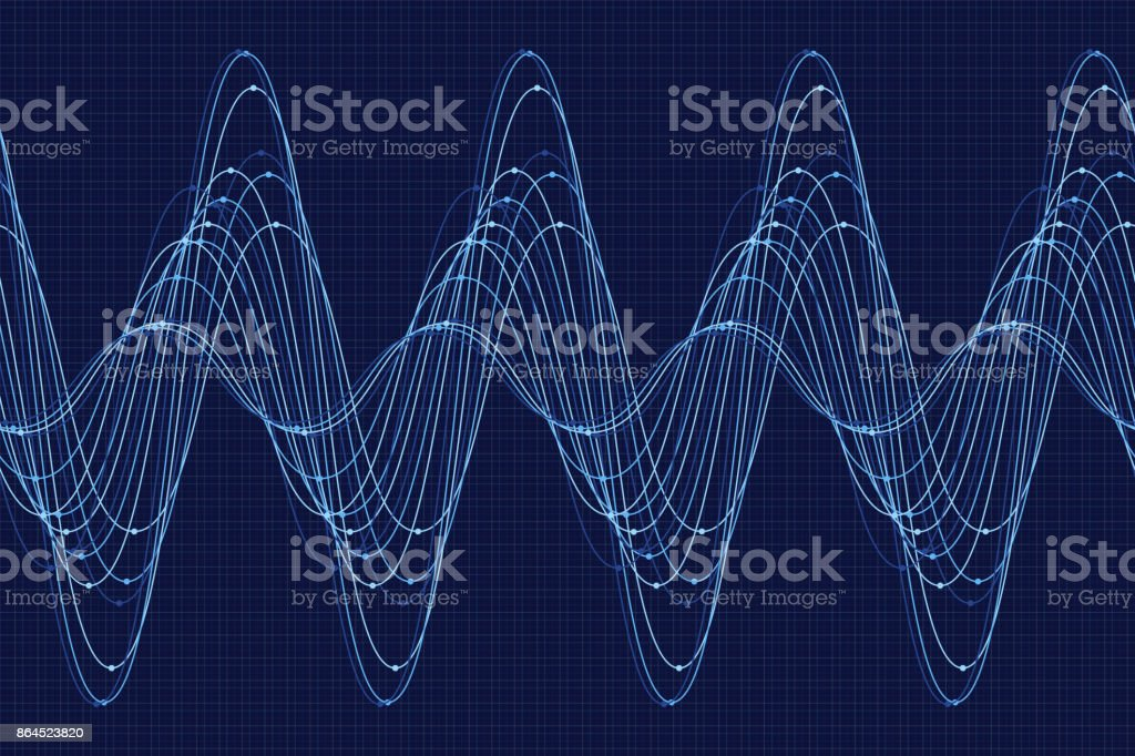 Rain Sine Wave Line Pattern Horizontal vector art illustration