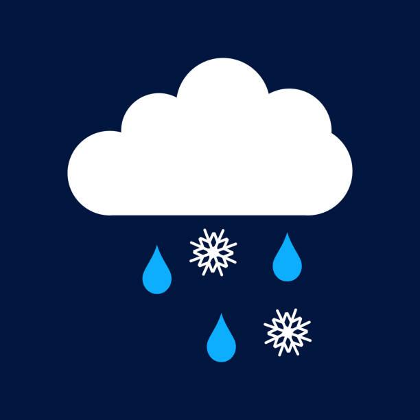 illustrazioni stock, clip art, cartoni animati e icone di tendenza di rain snow and cloud vector icon - grandine vector