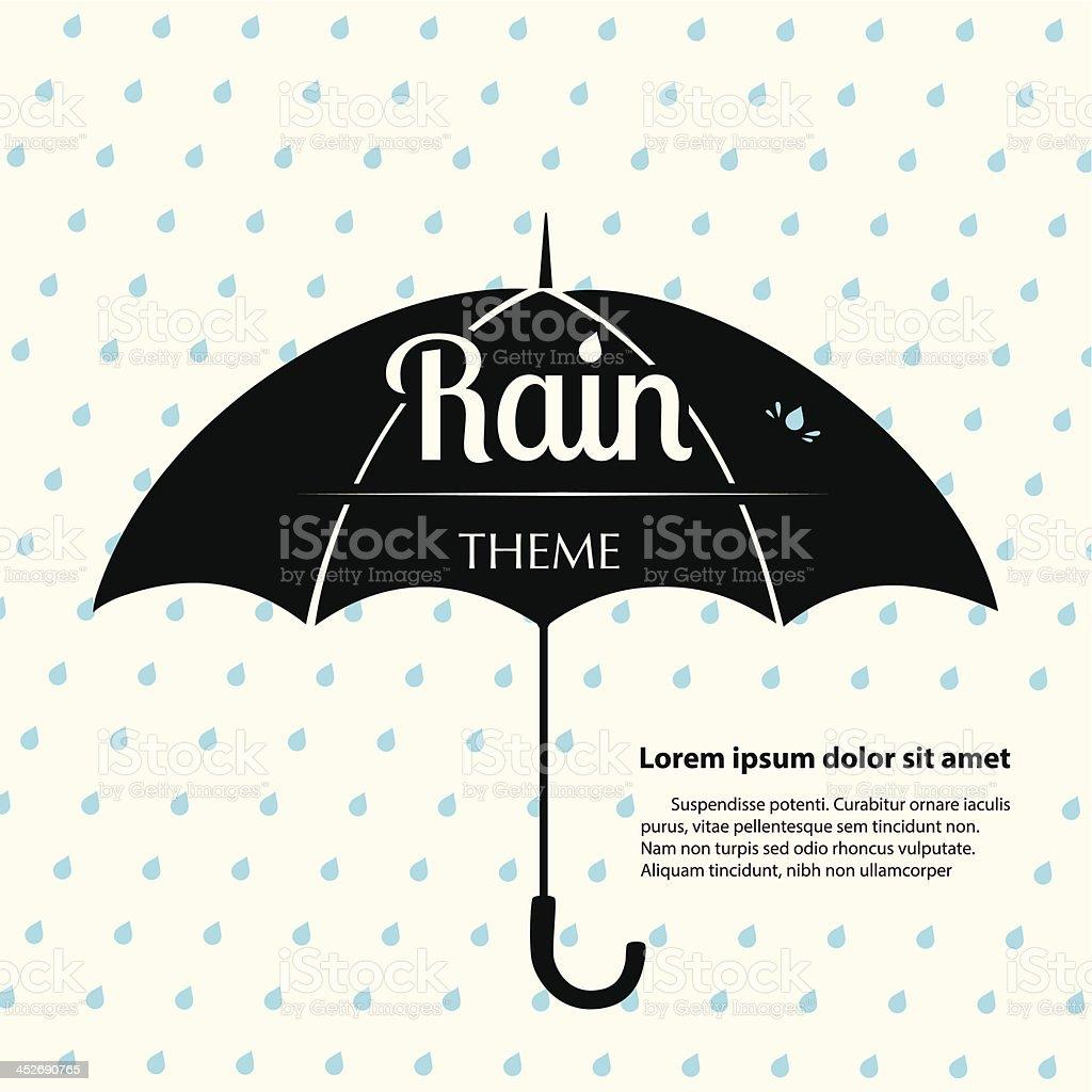 Rain Theme Template vector art illustration