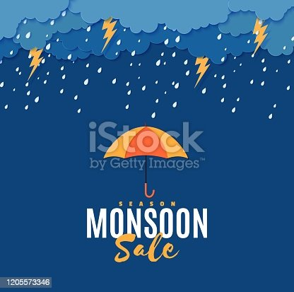 Rain thunder lightning umbrella and clouds in the paper cut style. Vector storm weather concept with falling water drops from the cloudy sky and flash. Monsoon sale storm horizontal banner