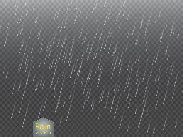 rain transparent template background. falling water drops texture. nature rainfall on checkered background - rain stock illustrations, clip art, cartoons, & icons