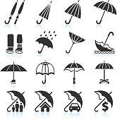 Rain Umbrella Protection and insurance royalty free vector icon set