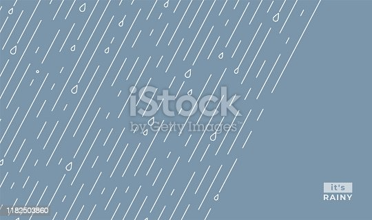 Rain vector pattern. It s rainy, season background in simple flat style with water line and liquid drops. Rainfall illustration. Copy space in the right sight. Raindrops front, starting.