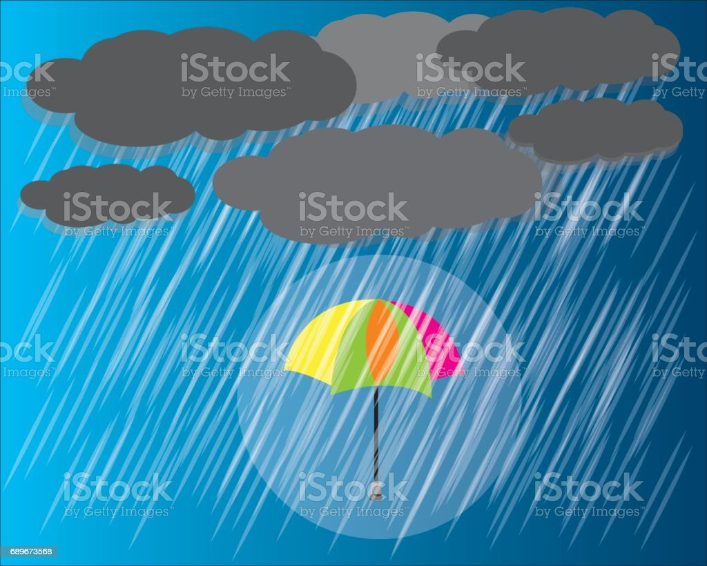 rain vector umbrella in the rain vector vector art illustration