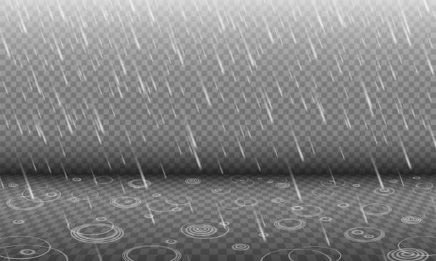 Rain with water ripples 3D effect isolated on transparency background Rain with water ripples 3D effect isolated on transparency background, autumn rainfall, realistic heavy rain foreground with blurred drops and circle waves, rain design template or element hailstorm stock illustrations