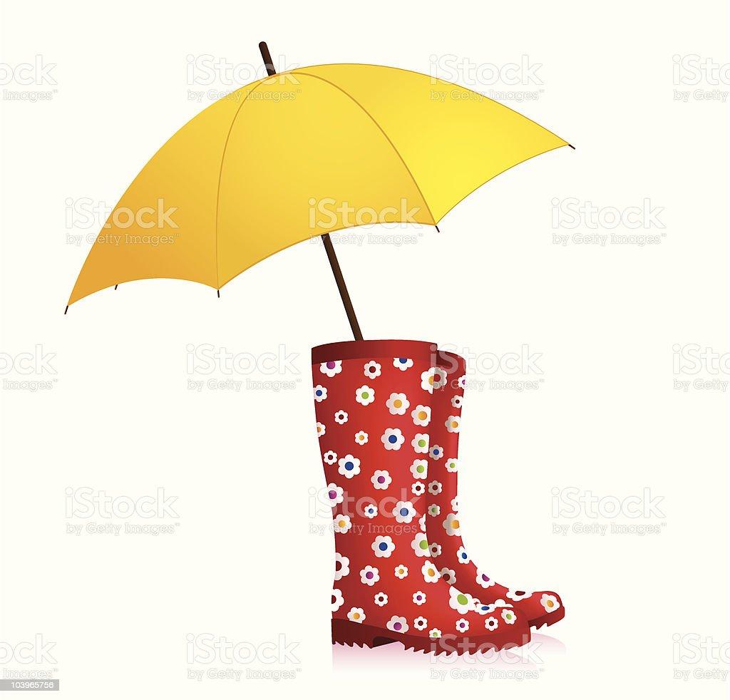Rainboots with umbrella vector art illustration