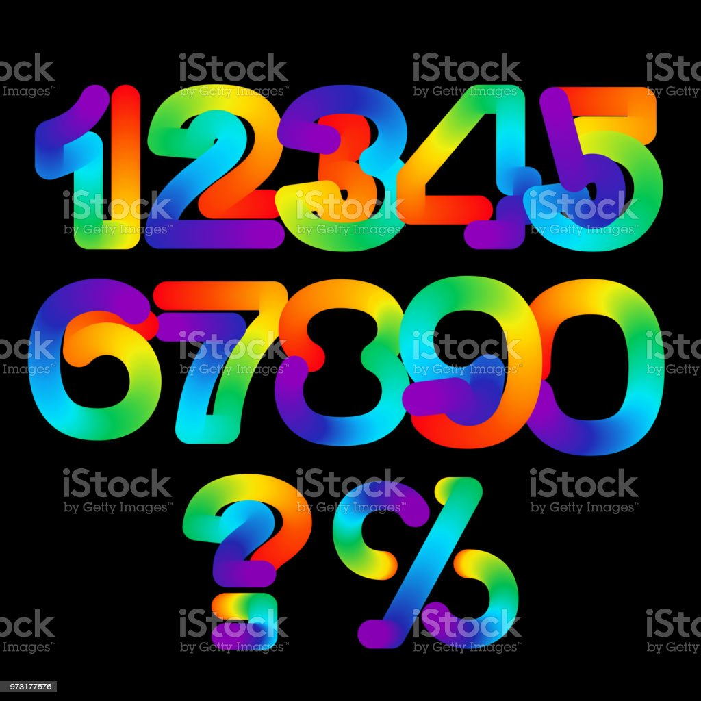 Rainbow 3d Numbers Set Vector Illustration Colorful Number Symbols Isolated On Black Background Neon Numbers Set Cool Colorful Digit Design Stock Illustration Download Image Now Istock