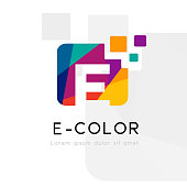 Rainbow abstract logo with E letter silhouette. Vector symbol with character element.