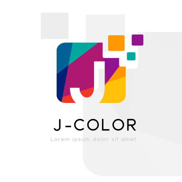 Rainbow abstract logo with J letter. Vector illustration Rainbow abstract logo with J letter silhouette. Vector symbol with character element. letter j stock illustrations