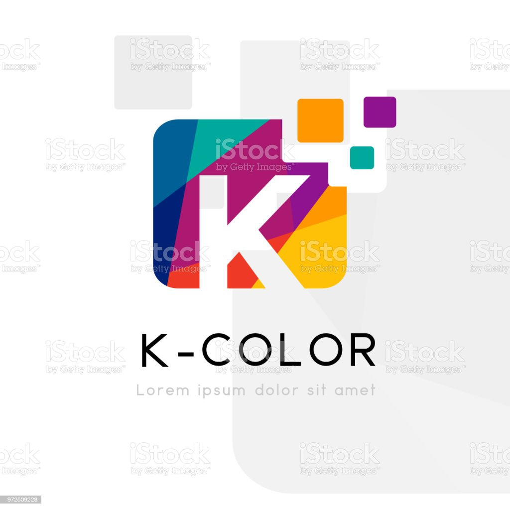 Rainbow abstract logo with K letter. Vector illustration - Векторная графика Абстрактный роялти-фри