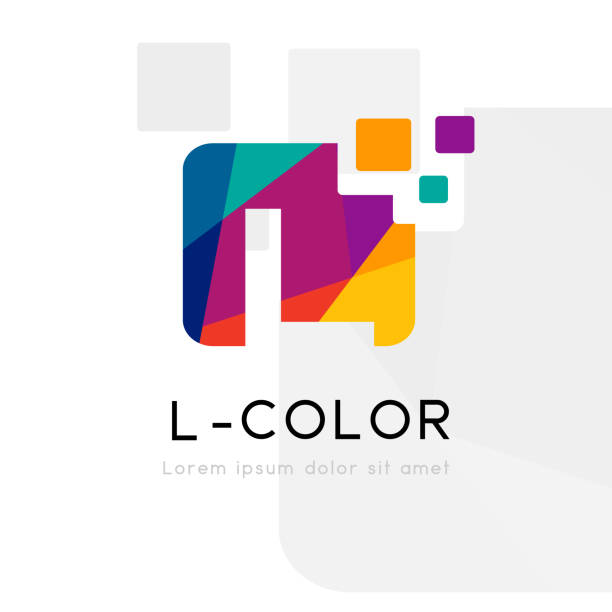 Rainbow abstract logo with L letter. Vector illustration Rainbow abstract logo with L letter silhouette. Vector symbol with character element. letter l stock illustrations