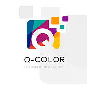 Rainbow abstract logo with Q letter. Vector illustration