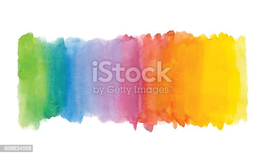 istock Rainbow abstract watercolor background. Hand drawn watercolor stains, splashes and drops 656634558