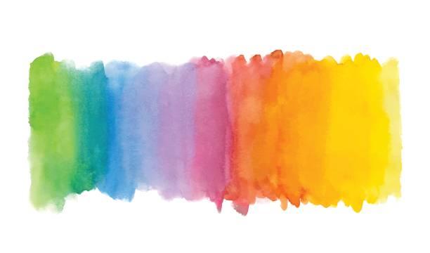 tęczowe abstrakcyjne tło akwareli. ręcznie rysowane plamy akwareli, plamy i krople - kolory stock illustrations