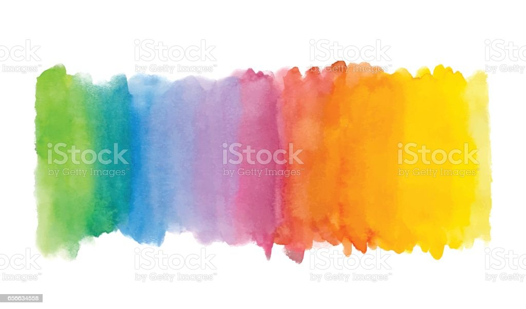 Rainbow abstract watercolor background. Hand drawn watercolor stains, splashes and drops vector art illustration