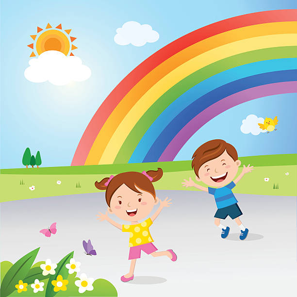 rainbow after the rain - kids playing in rain stock illustrations, clip art, cartoons, & icons