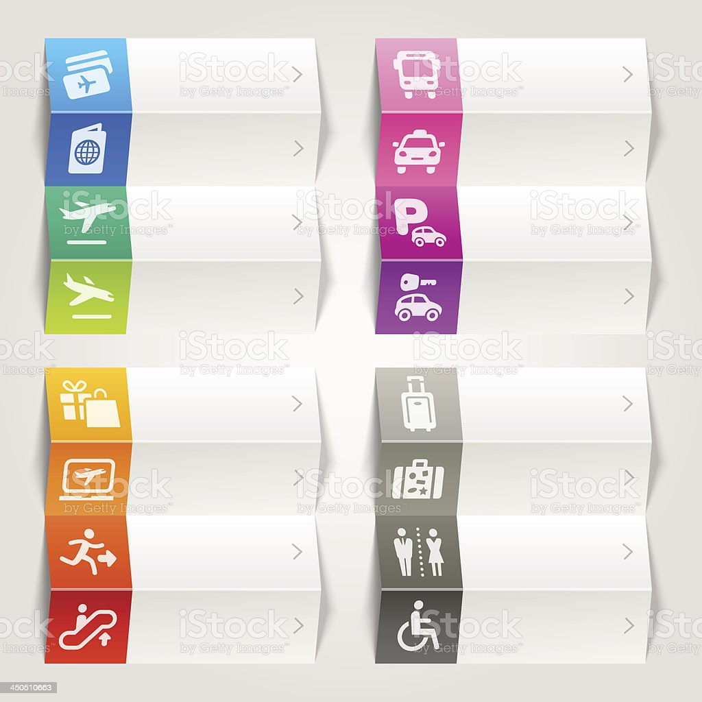 Rainbow - Airport and Travel icons / Navigation template vector art illustration