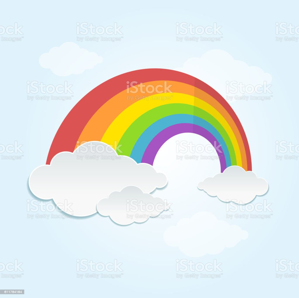 Rainbow and Cloud in The Sky. Vector - ilustración de arte vectorial