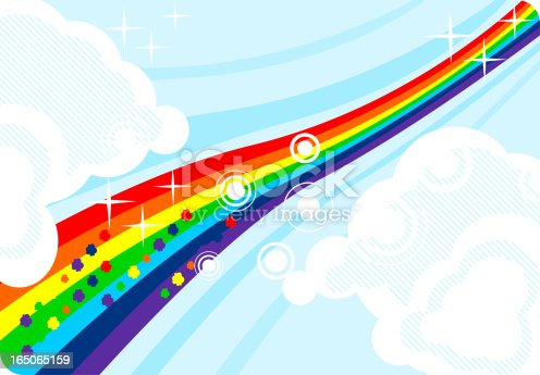 istock Rainbow and clouds abstract 165065159