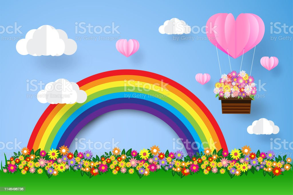 Rainbow and clouds , beautiful flower , paper art style, heart in the...