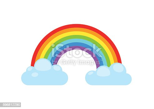 Rainbow and clouds isolated on white background. Nature sign cloud rainbow spectrum. Weather curve rainbow, graphic abstract symbol.